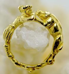 Fascinating Sculpted 18K Boar Ring