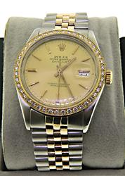 Rolex 2-Tone Datejust Diamond Bezel Watch