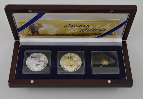 3 Coins - Republic of Somalia African Wildlife Coin Set w/ COA & Box