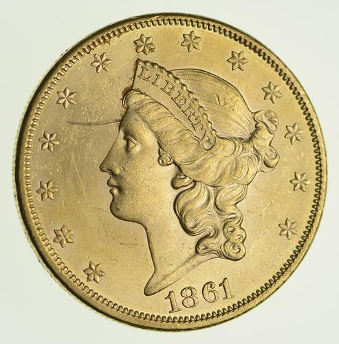 1861 $20.00 Liberty Head Gold Double Eagle - Circulated