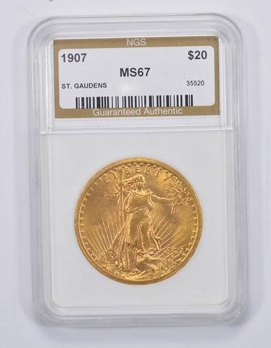 MS67 1907 $20.00 Saint-Gaudens Gold Double Eagle - NGS Graded