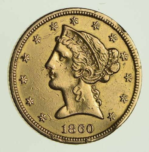 1860-S $5.00 Liberty Head Gold Half Eagle - KEY DATE