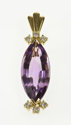 14K Yellow Gold 8.26 Ctw Marquise Amethyst Diamond Accent Pendant