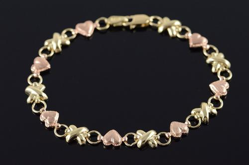 10K Yellow Gold Two Tone Heart Criss Cross Bracelet