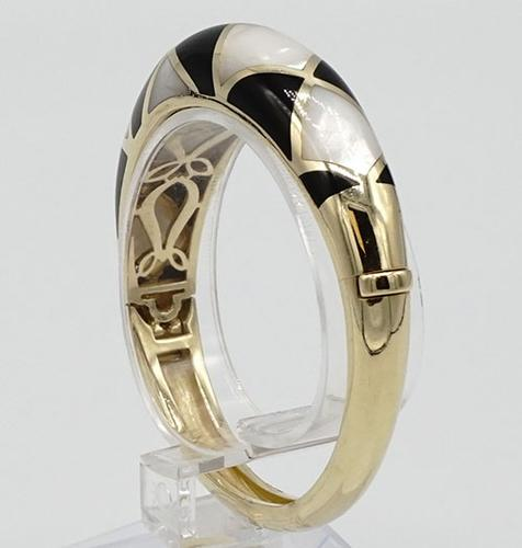 Onyx & Mother of Pearl Inlay Bangle