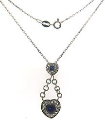 Double Heart CZ and Blue Stone Necklace