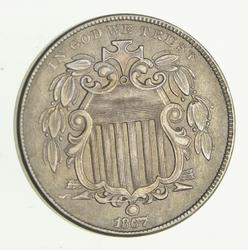 1867 Shield Nickel - Without Rays - Circulated