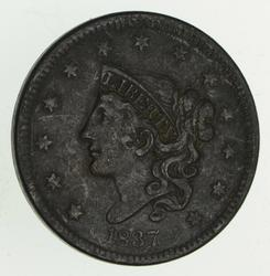 1837 Young Head Large Cent - Circulated