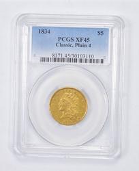XF45 1834 $5.00 Classic Head Gold Half Eagle - Plain 4 - Graded PCGS