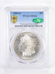 MS64 1885-S Morgan Silver Dollar - Graded PCGS
