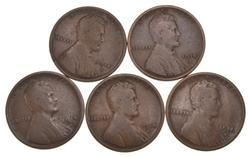 Lot (5) 1914-D Lincoln Wheat Cents