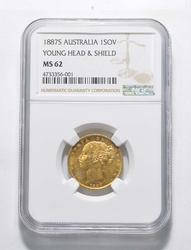 MS62 1887-S Australia 1 Sovereign - Young Head And Shield - Graded NGC