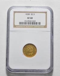 XF40 1838 $2.50 Classic Head Gold Quarter Eagle - Graded NGC