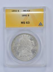 MS63 1892 Morgan Silver Dollar - Graded ANACS