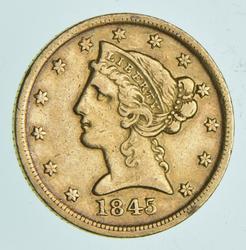 1845-D $5.00 Liberty Head Gold Half Eagle
