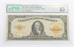 1922 $10.00 Washington, D.C. Gold Certificate - Large Star Note - PMG