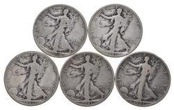 Lot (5) 1921-D Walking Liberty Half Dollars
