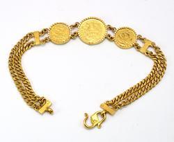 22KT Yellow Gold Coin Bracelet