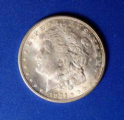 1921-S Morgan Silver Dollar, AU+/BU