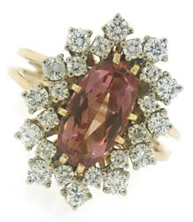 18kt Natural Imperial Topaz and Diamond Ring