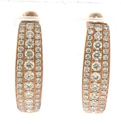 Very Stylish Triple Row Diamond Earrings in Rose Gold