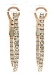 Sleek In-and-Out Diamond J Hoop Earrings in Rose Gold