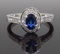 Blue Sapphire and Diamond Halo Ring