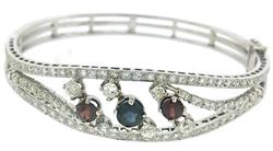 Romantic Blue Sapphire, garnet and Diamond Bangle