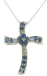 Gorgeous Sapphire and Diamond Cross Necklace