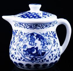 Large Blue & White Mandarin Porcelain Teapot