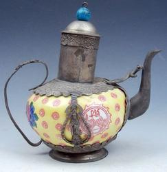 Bronze Kwan Yin Yellow Porcelain Teapot
