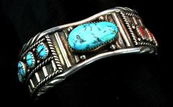 Signed Vintage Turquoise & Coral Sterling Cuff