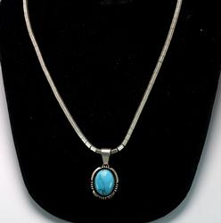 Excellent Turquoise Pendant with Chain, Sterling
