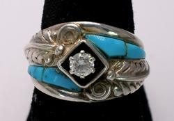 Unique Sterling Turquoise & CZ Ring