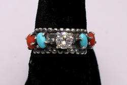 Unique Turquoise, Coral, & CZ Engagement Ring, Sterling