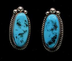 Turquoise Sterling Clip Backs Earrings