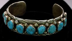 Vintage Sterling Silver Turquoise Cuff
