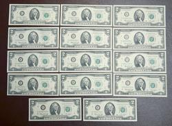 14 X 1976 $2 NOTES  2) PHIL & 12) RICHMOND CU