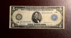 $5 FR#851A 1914 FEDERAL RESERVE NOTE