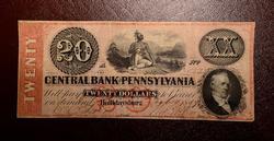 $20 CENTRAL BK.OF PENN. AT HOLLIDAYSBURG 1859