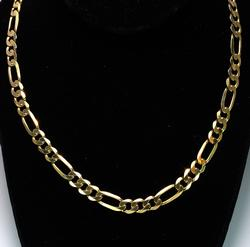 Figaro 22 inch Chain in Yellow Gold