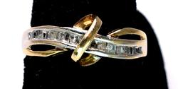 Yellow Gold Cross Over Diamond Band Ring