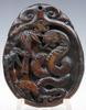 Jade Hand Carved Old Nephrite Curly Cobra Pendant