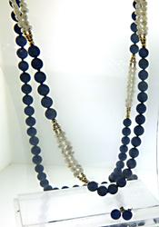 Lapis. Pearl Necklace with Lapis Earrings