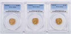 (3) MS62 MS63 & MS64 1925-D $2.50 Indian Head Gold Quarter Eagles PCGS