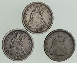 Lot (3) 1875-S Seated Liberty Twenty-Cent Pieces