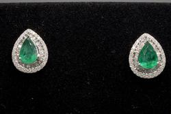 Astonishing 2.40CTW Emerald & Diamond Earrings