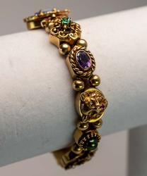One-of-a-Kind Gold Bracelet with Mixed Gems