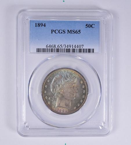 MS65 1894 Barber Half Dollar - PCGS Rainbow Toned