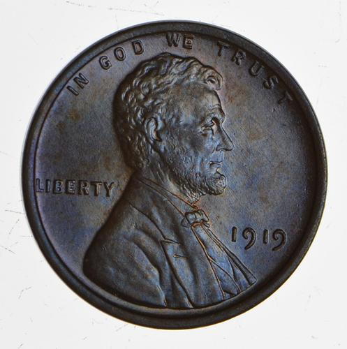 1919 Lincoln Wheat Cent - Toned - Uncirculated